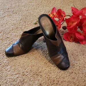 Rialto heeled mules patch browns Size 8.5